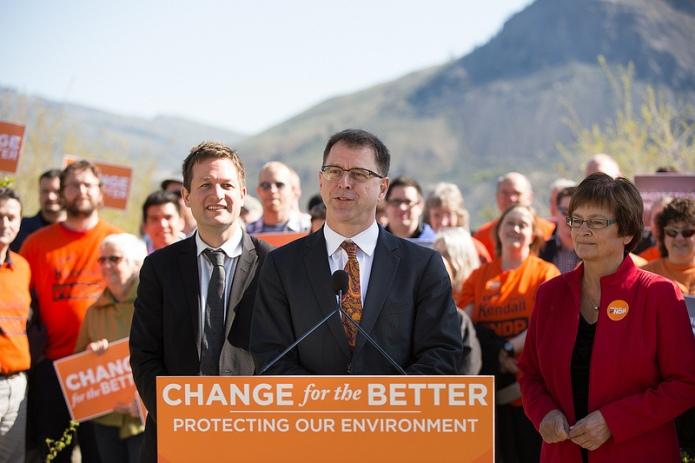 Adrian Dix, leader of the BC NDP, speaking in Kamloops