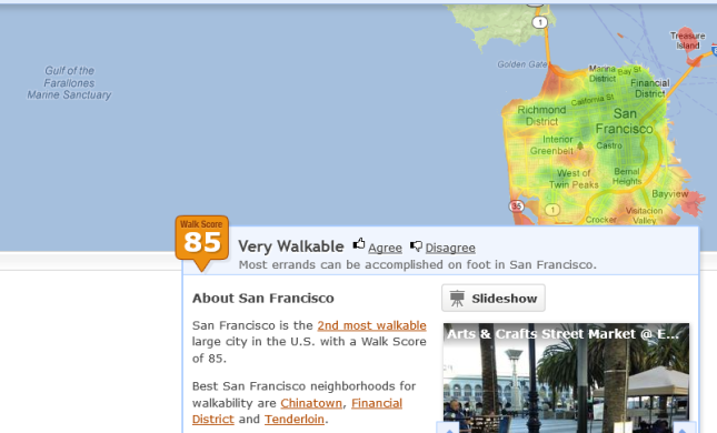 San Francisco has a walk-score of 85, which is higher than Vancouver's 78
