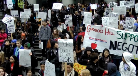 Students from across Metro Vancouver protest overcrowded classrooms at a rally on March 2, 2012