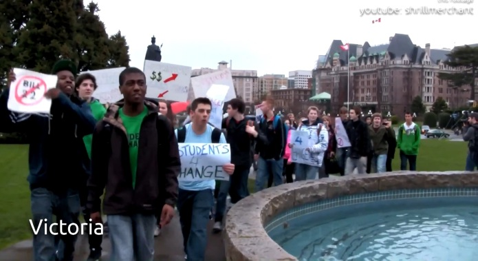 Students protest Bill 22 in Victoria in March 2012