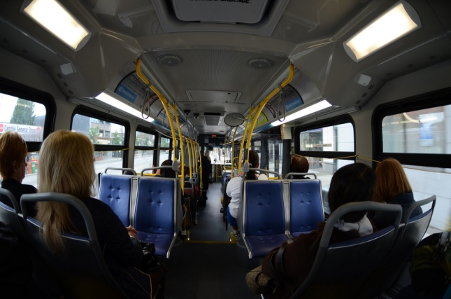 Looking forward inside a Vancouver transit bus. Photo: CC-BY-NC-ND Flickr: Cyprien
