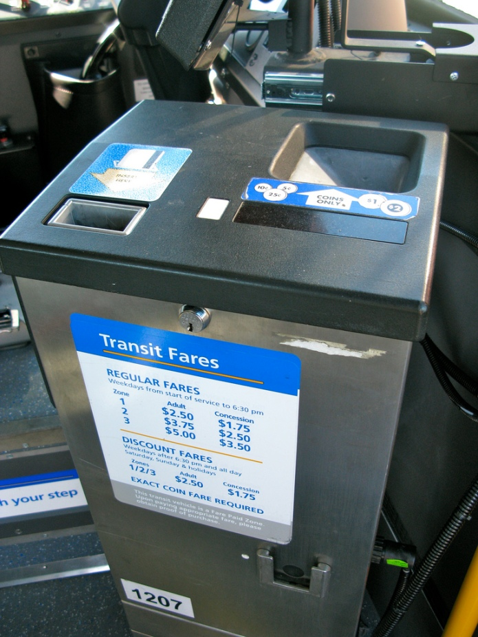 A TransLink farebox. On the right is the coin slot that I dread so much.