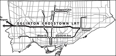 A map of the Eglinton Crosstown LRT in contrast to Toronto's current rapid transit system