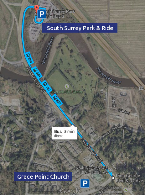 Grace Point Church in relation to the Park and Ride