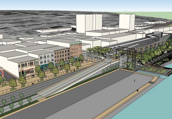 Concept: Revitalized Front Street with Sixth Street rail overpass