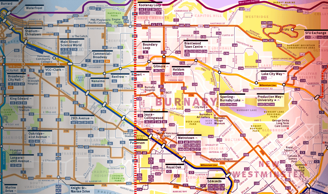 Transit map, highlighting Burnaby's transit network