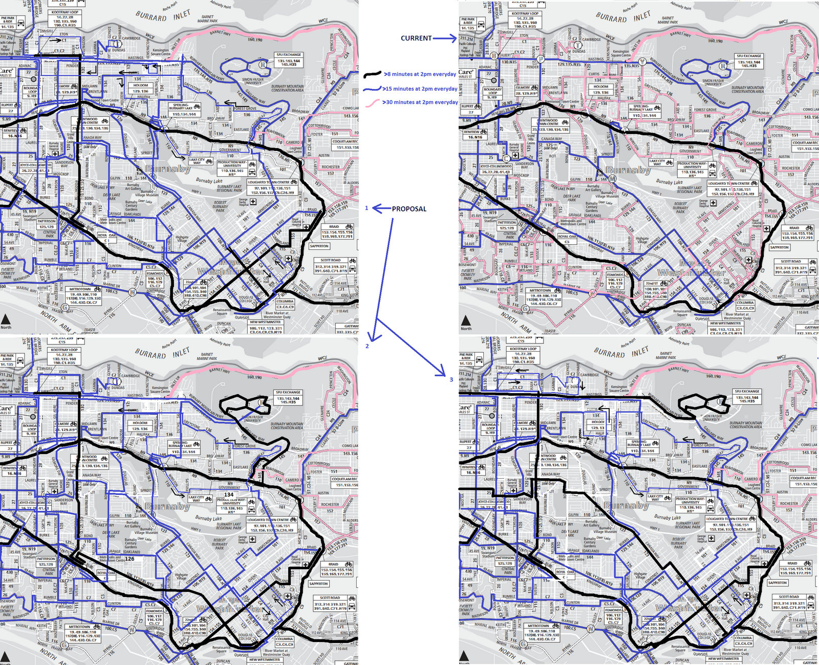 Kyle (van257)'s Burnaby bus network proposal. [CLICK IMAGE] for full size. The original network is on the top right, and there are three proposals