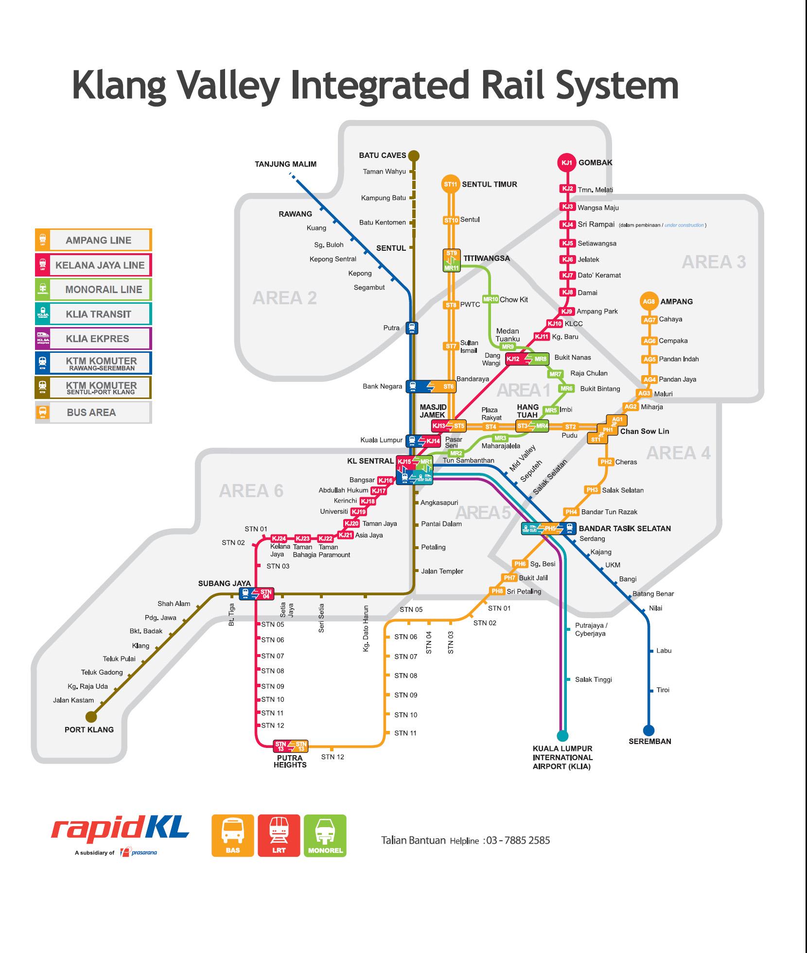 Kuala Lumpur's integrated rail system. The Kelana Jaya line is in magenta.