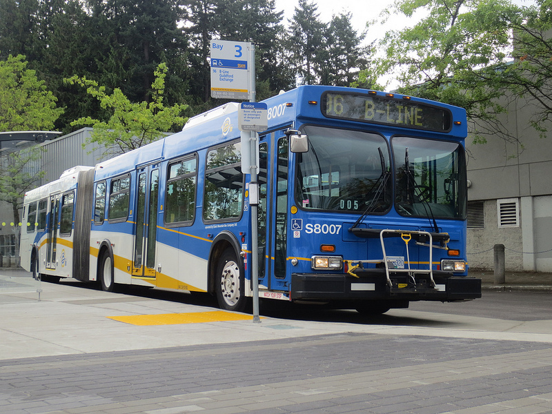 The introduction of the Canada Line and the displacement of several articulated 98 B-Line buses allowed capacity to be improved in services around the region, and in new travel markets such as Surrey. Seen here isa 96 B-Line bus departing Newton; the bus rapid transit route was introduced in Surrey just last year. Photo credit: The Buzzer