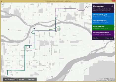 The current state of routes 407 and 430. Created with TransitMix
