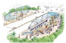 Okinawa Railway concept - Showing a special underground on-street station with stage-style plazas