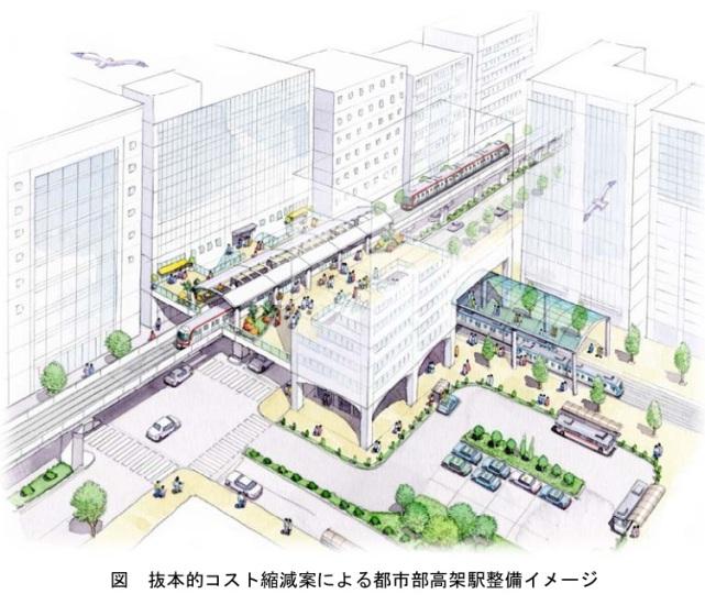 Okinawa Railway System - Urban elevated railway station concept on city street