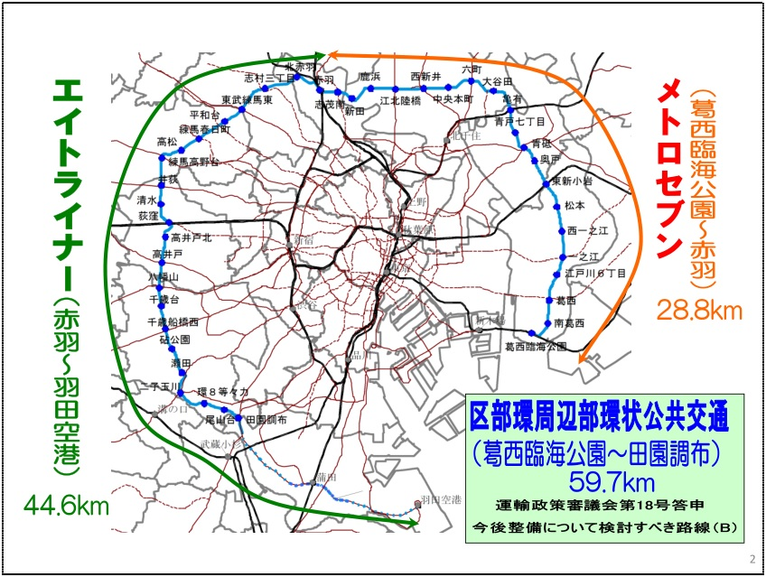 "Map: Proposed ""Metro 7"" and ""Eight Liner"" rapid transit line circling outer Tokyo. The Tokyo Metropolitan Bureau of Transportation wants to use SkyTrain technology to reduce the project costs of this transit line."