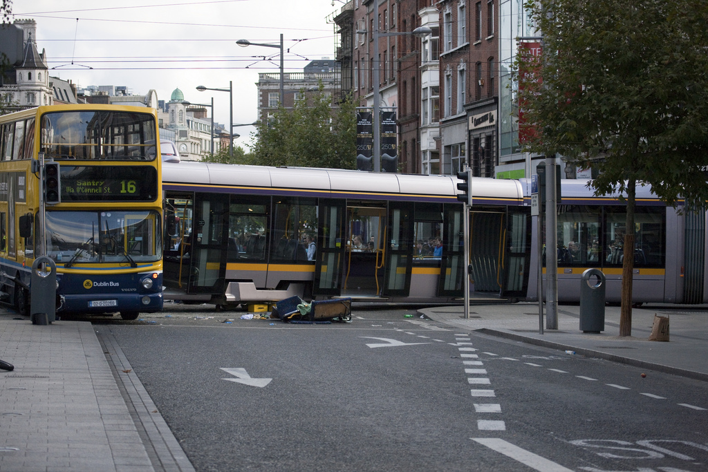 Dublin's Luas Tram is often featured in LRT promotion by the City of Surrey. Here it is from another perspective, having crashed into a bus. Photo: CC-BY-SA Flickr: William Murphy