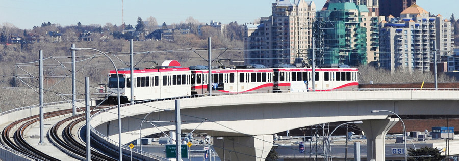 The elevated Calgary West LRT